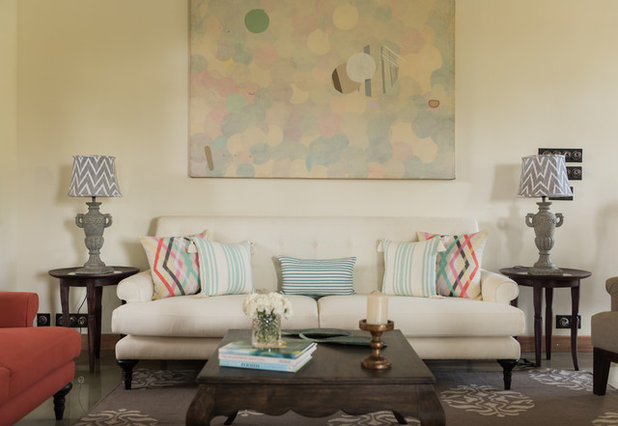 Transitional Living Room by Papersky Studio