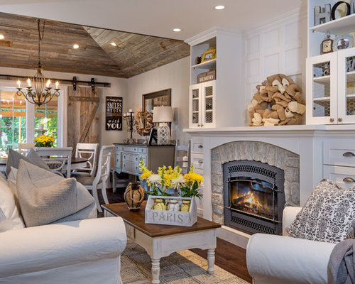 Living Room Decor With Fireplace farmhouse living room ideas & design photos | houzz