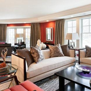 Immagine di un ampio soggiorno design con pareti rosse