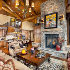 Rustic Living Room by Pinnacle Mountain Homes