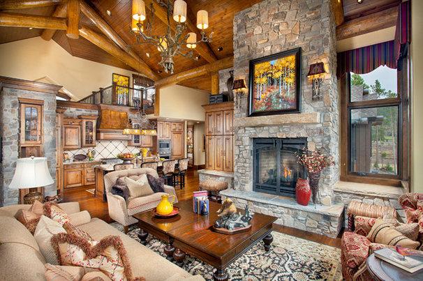 Rustic Living Room by Pinnacle Mountain Homes