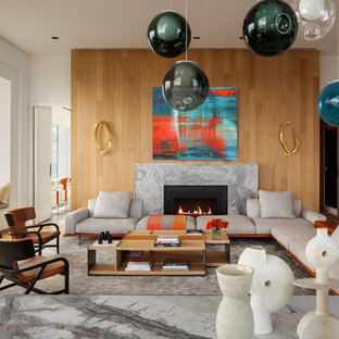Inspiration for a contemporary formal and open concept light wood floor living room remodel in New York with white walls, a ribbon fireplace, a stone fireplace and no tv
