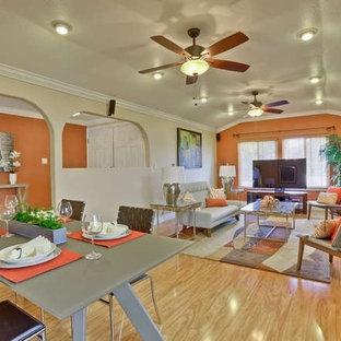 サンフランシスコの中サイズのミッドセンチュリースタイルのおしゃれなLDK (オレンジの壁、淡色無垢フローリング、標準型暖炉、漆喰の暖炉まわり、据え置き型テレビ) の写真