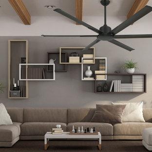 Diseño de biblioteca en casa cerrada, minimalista, de tamaño medio, sin chimenea y televisor, con paredes grises, moqueta y suelo marrón