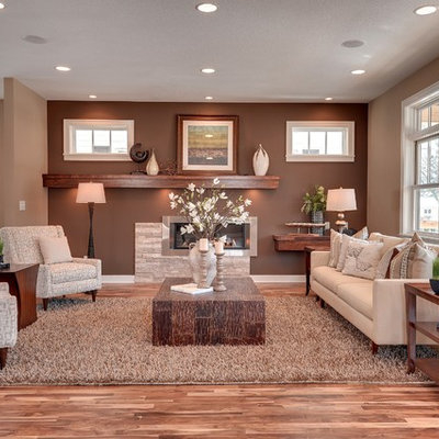 Inspiration for a transitional living room remodel in Minneapolis with brown walls