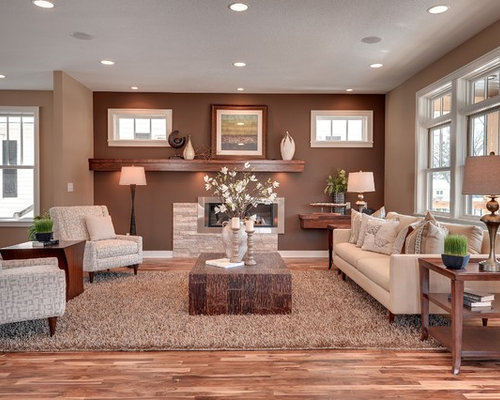 Attractive Inspiration For A Transitional Living Room Remodel In Minneapolis With  Brown Walls