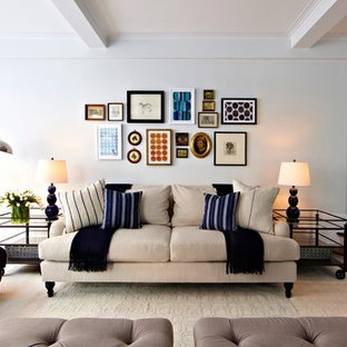 Large transitional formal and open concept dark wood floor living room photo in New York with gray walls and no fireplace