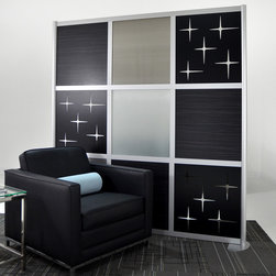6' Modern Room Divider, Madagascar Wood and Translucent panels - This Modern 6' Privacy Screen with Madagascar, Translucent and Custom Cut out panels personalizes any open space area while maintaining the open feel of a loft.