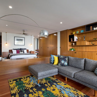 Inspiration for a 1950s open concept and formal living room remodel in Gold Coast - Tweed with no tv