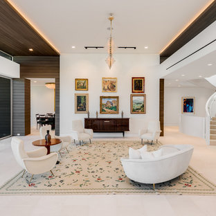 Example Of A Trendy Formal And Loft Style White Floor Living Room Design In  Miami