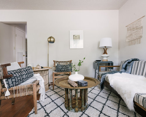 Danish Living Room Photo In Denver With White Walls