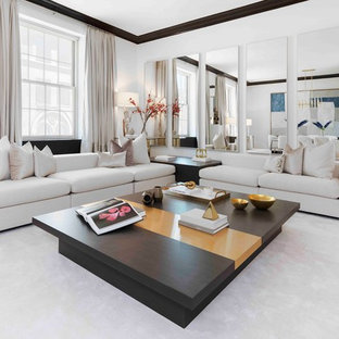Inspiration for a contemporary formal and open concept dark wood floor living room remodel in New York with white walls