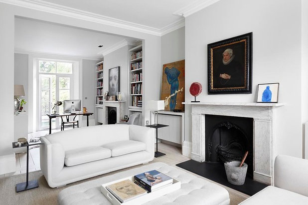 Transitional Living Room by De Rosee Sa