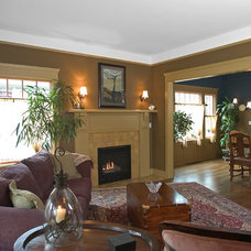 Craftsman Living Room by Color in Space Inc.