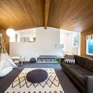 Idee per un soggiorno moderno di medie dimensioni e chiuso con pareti bianche, moquette, nessun camino e pavimento grigio