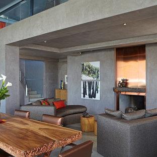 Idee per un soggiorno minimalista con pavimento in cemento, pareti grigie e cornice del camino in metallo