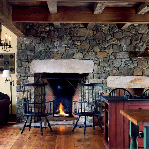 old stone fireplace. Farmhouse living room idea in Philadelphia with a standard fireplace and stone  Old Stone Fireplace Houzz
