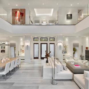 Ispirazione per un soggiorno minimal aperto con pareti bianche, parquet chiaro, TV autoportante, sala formale e pavimento grigio