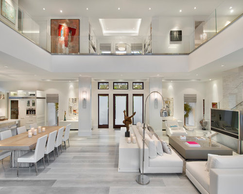Contemporary Formal And Open Concept Light Wood Floor Gray Living Room Idea In Miami