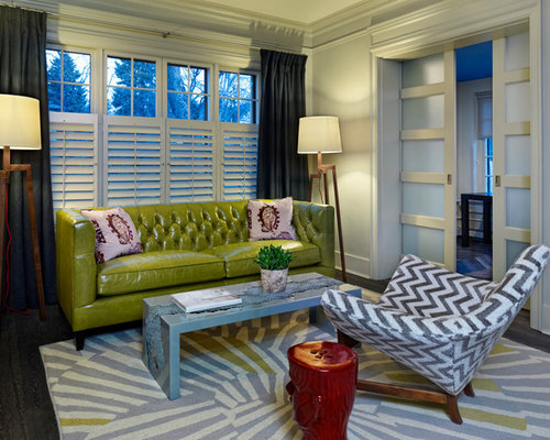 Green Leather Sofa Design Ideas & Remodel Pictures | Houzz