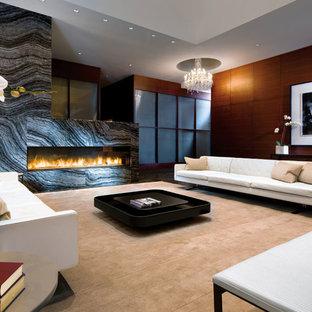 バンクーバーのコンテンポラリースタイルのおしゃれな独立型リビング (フォーマル、マルチカラーの壁、横長型暖炉、テレビなし、ベージュの床) の写真