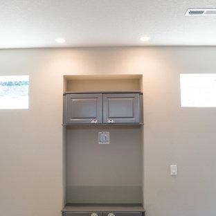 Example of a coastal living room design in Portland