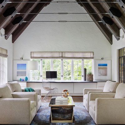 Inspiration for a farmhouse dark wood floor living room remodel in Chicago with white walls