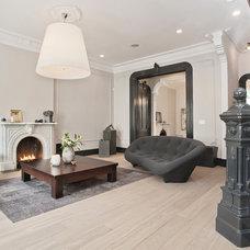 Transitional Living Room by Jensen C. Vasil  Architect PC