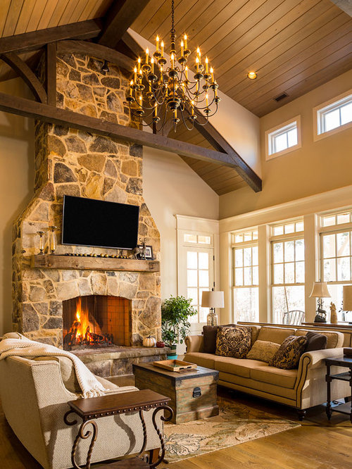 Rustic Living Room Design Ideas, Remodels & Photos with a ...