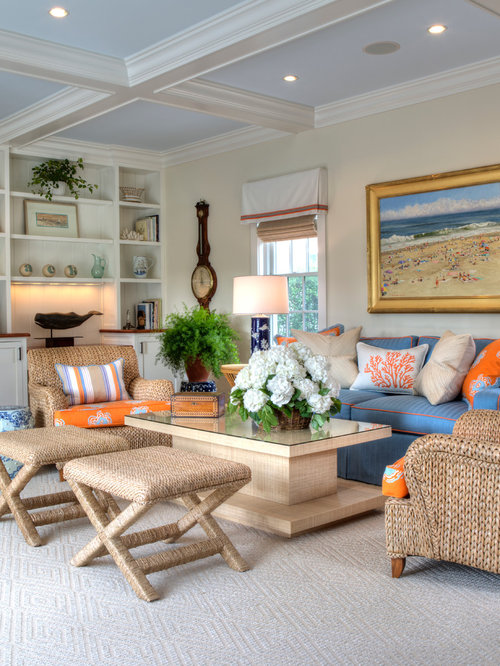 Coastal Carpeted Living Room Photo In Boston With Beige Walls