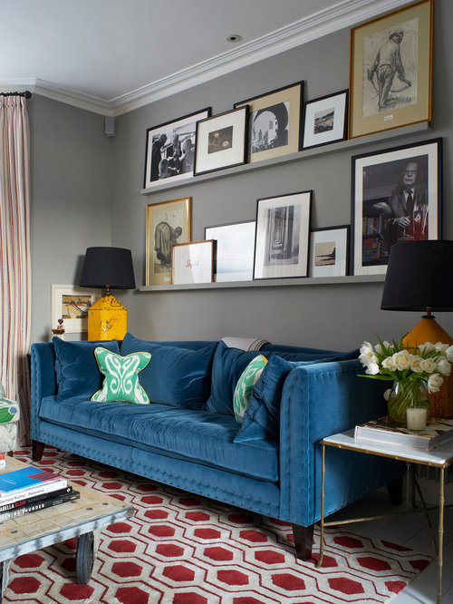 Elegant Inspiration For A Transitional Painted Wood Floor Living Room Remodel In  London With Gray Walls Part 19