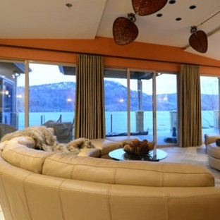 Island style living room photo in Vancouver