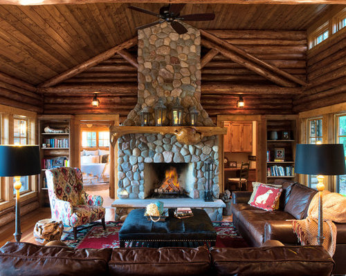 rustic home interior design. Example of a mid sized mountain style open concept brown floor and medium  tone wood Best 25 Rustic Home Design Ideas Decoration Pictures Houzz