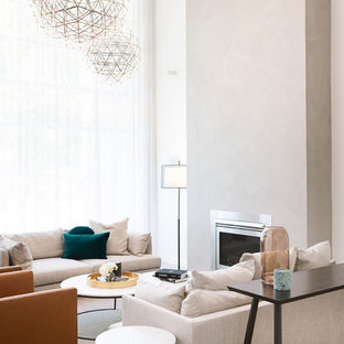 Design ideas for a contemporary living room in Canberra - Queanbeyan with beige walls, carpet and beige floor.