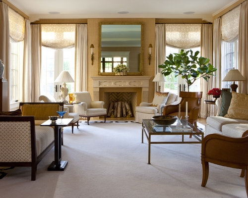 Elegant Formal Living Room Photo In DC Metro With Beige Walls, A Standard  Fireplace And