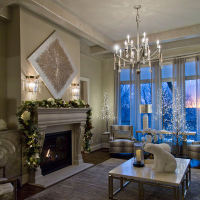 Large transitional formal and enclosed dark wood floor and brown floor living room photo in Kansas City with beige walls, a standard fireplace and a concrete fireplace