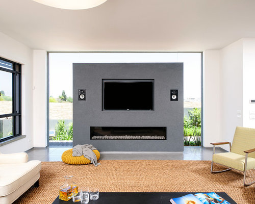 Fireplace tv wall home design ideas pictures remodel and - Raumteiler tv wand ...