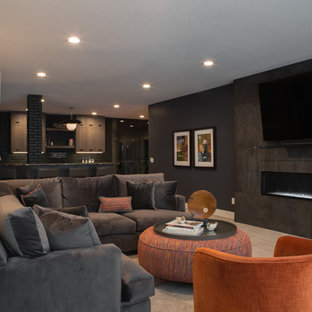 Inspiration for a large modern formal and open concept carpeted and beige floor living room remodel in Chicago with beige walls, a ribbon fireplace, a concrete fireplace and a wall-mounted tv