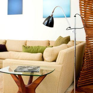 Ejemplo de salón retro con paredes blancas y suelo de madera en tonos medios