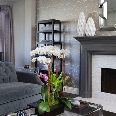 Mid-sized transitional formal and enclosed dark wood floor living room photo in Los Angeles with gray walls, a standard fireplace and a stone fireplace