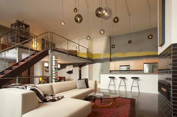 Industrial Living Room by Margot Hartford Photography