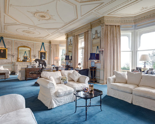 Huge Victorian Formal And Enclosed Carpeted Living Room Idea In Devon With A Standard Fireplace