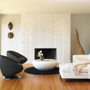 Modelo de salón minimalista con paredes blancas y chimenea tradicional
