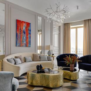 На фото: гостиная комната в современном стиле