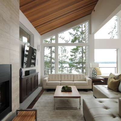 Trendy living room photo in Seattle with a ribbon fireplace, a metal fireplace and a wall-mounted tv