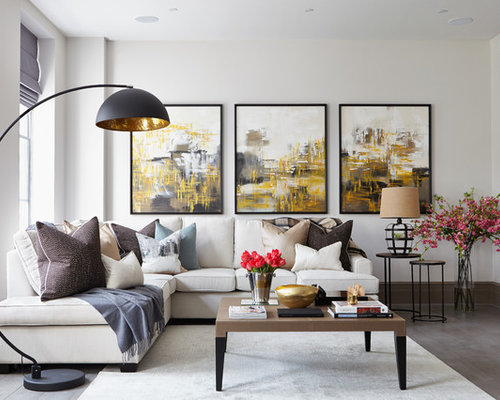 Inspiration for a contemporary living room remodel in London with white  walls