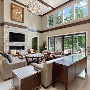 フィラデルフィアの巨大なトランジショナルスタイルのおしゃれなLDK (ベージュの壁、横長型暖炉、石材の暖炉まわり、埋込式メディアウォール、白い床、塗装板張りの天井) の写真