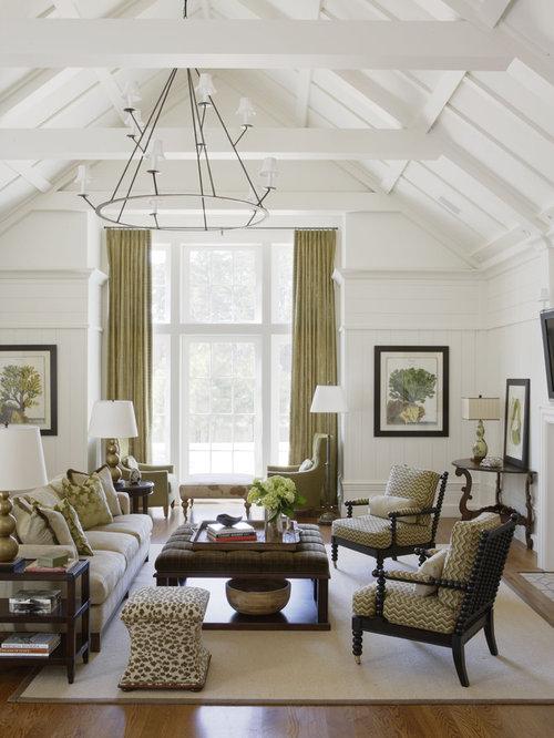 Example Of A Classic Medium Tone Wood Floor Living Room Design In Atlanta  With White Walls