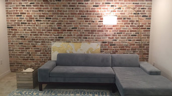 Accent Wall veneered with Antique Blend Reclaimed Thin Brick Veneer