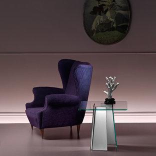Ispirazione per un soggiorno contemporaneo di medie dimensioni e aperto con sala formale, pareti rosa, pavimento in vinile, nessuna TV e pavimento rosa